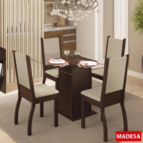 Imagem de Mesa de Jantar 4 Lugares Soraya Tabaco/Pérola
