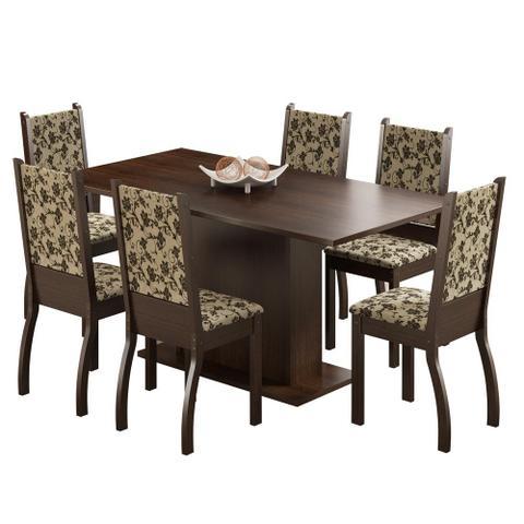 Imagem de Mesa de Jantar 6 Lugares Caroline Tabaco/Bege Marrom