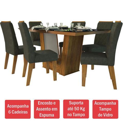 Imagem de Mesa De Jantar 6 Lugares Condessa Cedro/camurça/preto - Viero Móveis