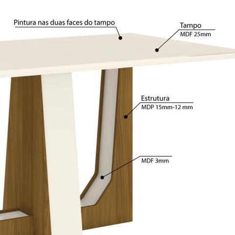 Imagem de Mesa de Jantar Alfa 160cm 6 Cadeiras Vita - Nature/Off White