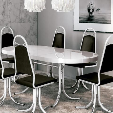 Imagem de Mesa de Jantar Brigatto Fórmica Extensível M-846 Com 6 Cadeiras C-64 Preta