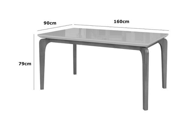 Imagem de Mesa de Jantar Cirrus 6 lugares 160cm s/ cadeiras - Tampo c/ Vidro - base madeira maciça - BRANCO/IMBUIA BAHIA