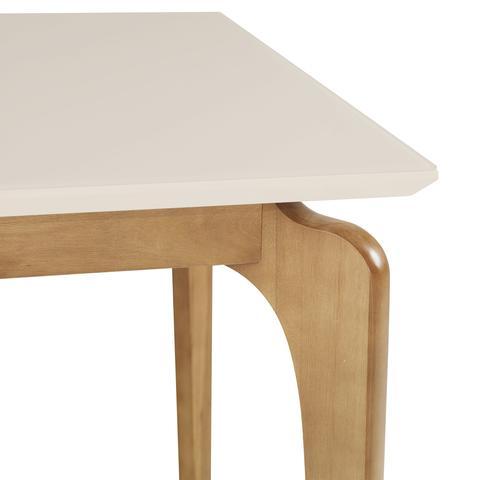 Imagem de Mesa de Jantar Cirrus 6 lugares 160cm s/ cadeiras - Tampo c/ Vidro - base madeira maciça - OFF WHITE/IMBUIA BAHIA