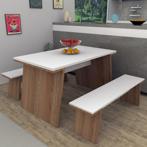 Imagem de Mesa De Jantar Com 4 Lugares Kei Bliv - Branco e Castanho