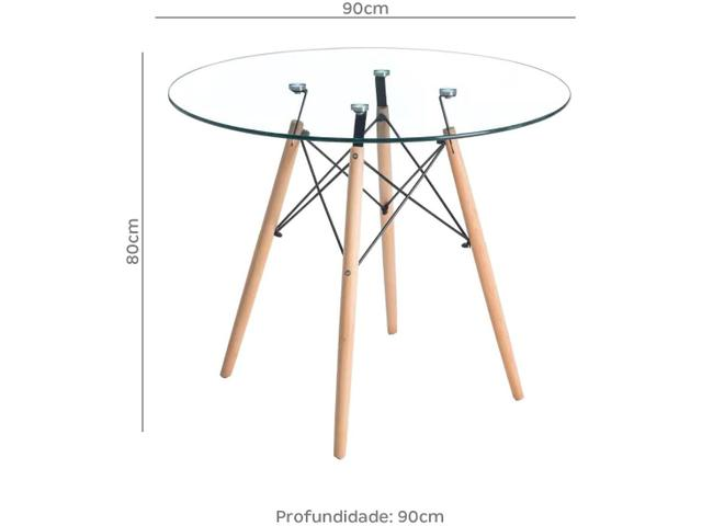 Imagem de Mesa de Jantar de Madeira Tampo de Vidro