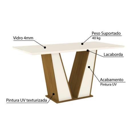 Imagem de Mesa de Jantar Garda 160cm 6 Cadeiras Vita - Nature/Off Whit