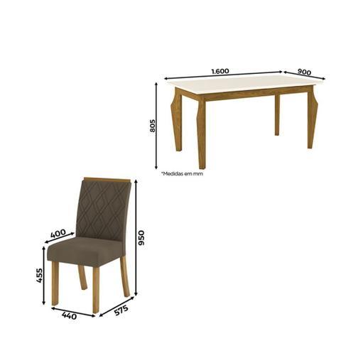 Imagem de Mesa de Jantar Ghala 1,60 Com 6 Cadeiras Vita Henn