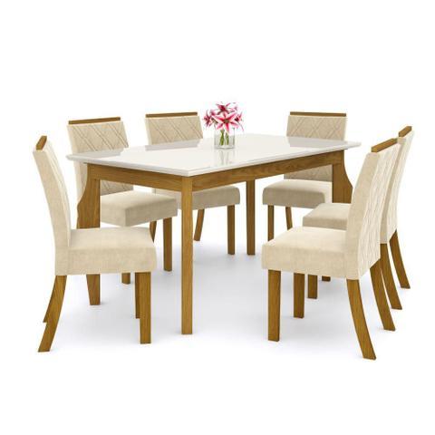 Imagem de Mesa de Jantar Ghala 160cm 6 Cadeiras Vita - Nature/Off Whit