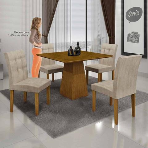 Imagem de Mesa De Jantar Itália 90x90cm C/4 Cadeiras Tampo Mdf Animale Crú/imbuia Mel - Leifer Móveis