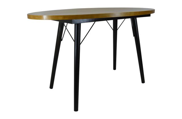 Imagem de Mesa de Jantar Oval Escritório Retrô Madeira Pinus Elliotti Pé Palito