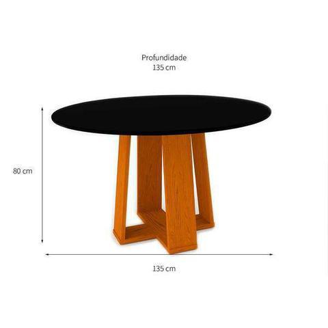 Imagem de Mesa De jantar Para 6 Lugares Tampo Redondo 135cm Isabela Sem Cadeiras Ype Preto New Ceval