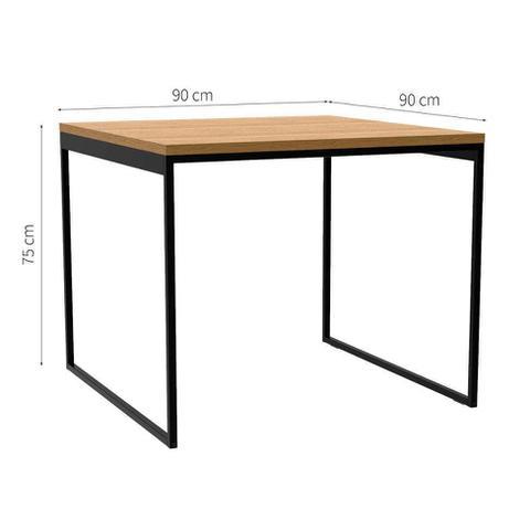Imagem de Mesa de Jantar Quadrada Industrial Stanford Carvalho e Preta 90 cm