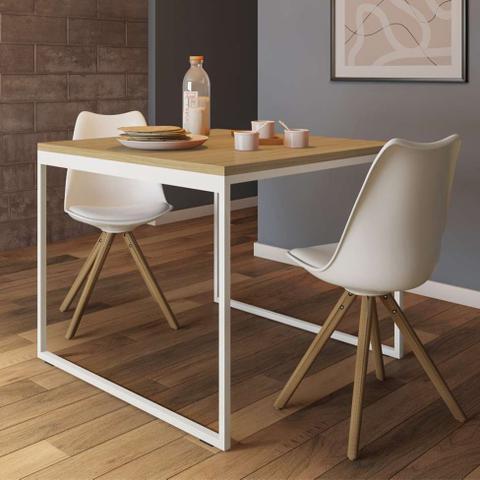 Imagem de Mesa de Jantar Quadrada Stanford Natural e Branca 90 cm
