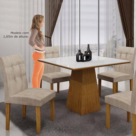 Imagem de Mesa De Jantar Quadrada Tampo Vidro Itália Leifer Imbuia Mel/branco