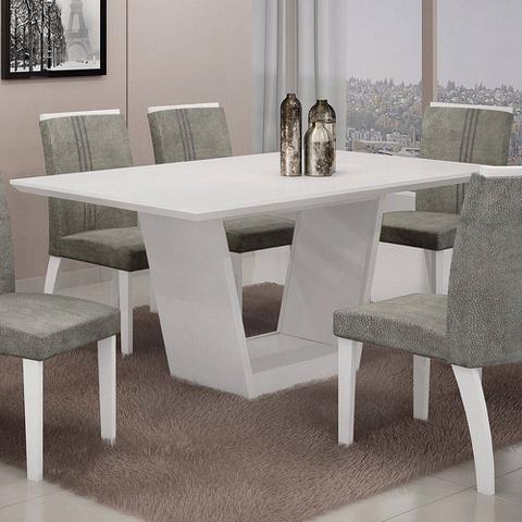Imagem de Mesa De Jantar Retangular Tampo Mdf/vidro Alemanha Leifer Flex Color Branco/imbuia Mel