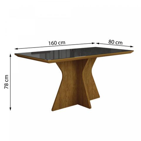 Imagem de Mesa de Jantar Tampo de Vidro Preto 160cm Creta Leifer Imbuia Mel