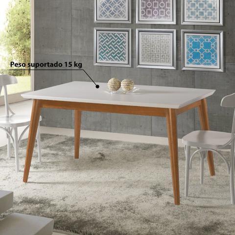 Imagem de Mesa de Jantar Verona com Tampo - Imbuia/Branco 140x80