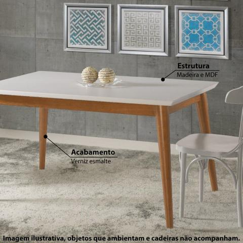 Imagem de Mesa de Jantar Verona com Tampo - Imbuia/Branco 180x90