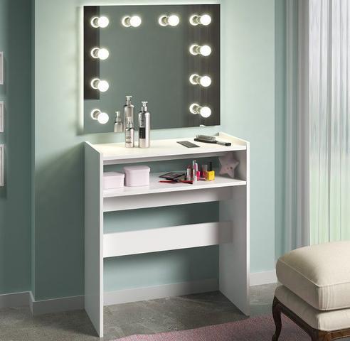 Imagem de Mesa De Manicure Prateleira De Esmaltes Branco Multiuso