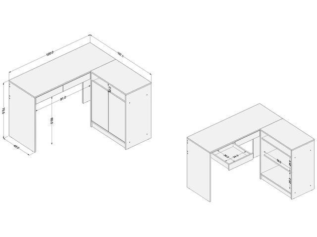 Imagem de Mesa e Estante 4 Portas 2 Gavetas 1 Prateleira