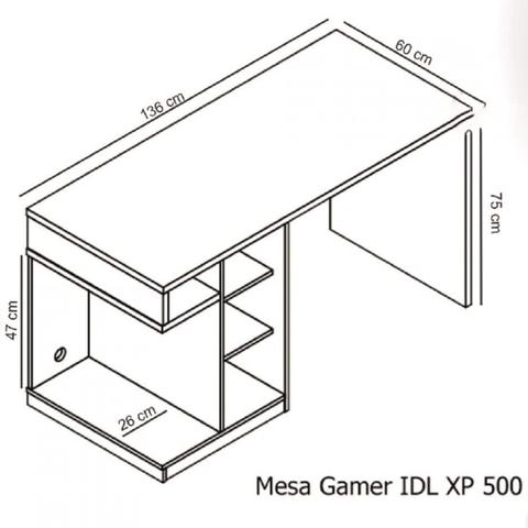 Imagem de Mesa Gamer IDL XP 500 Siena Móveis Preto/Laranja