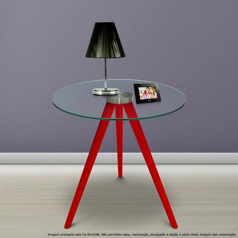 Imagem de Mesa Lateral de Canto Tripé Laqueada Vermelha com Tampo de Vidro Incolor