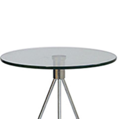 Imagem de Mesa lateral florinda pés de alumínio tampo de vidro transparente