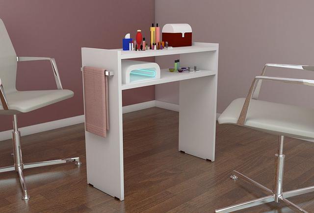 Imagem de Mesa P/Manicure 80cm,p/salão Cabeleireiros 100%mdf c/alças