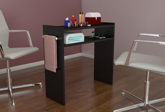 Imagem de Mesa P/Manicure Mdf Preto 60cm c/ prateleira e alças cromadas