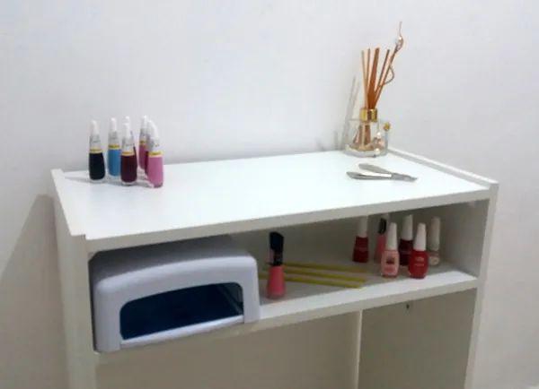 Imagem de Mesa P/Manicure prática c/ prateleira p/ estufa 60LX77AX30P com alças cromadas