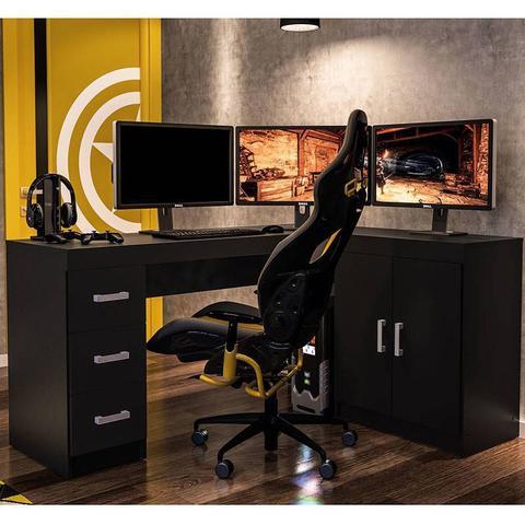 Imagem de Mesa para Computador com 2 Portas e 3 Gavetas Espanha - Politorno