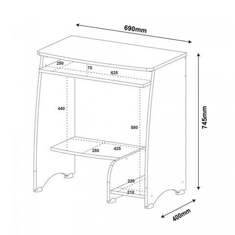 Imagem de Mesa para Computador com 3 Prateleiras Pixel Artely Branco