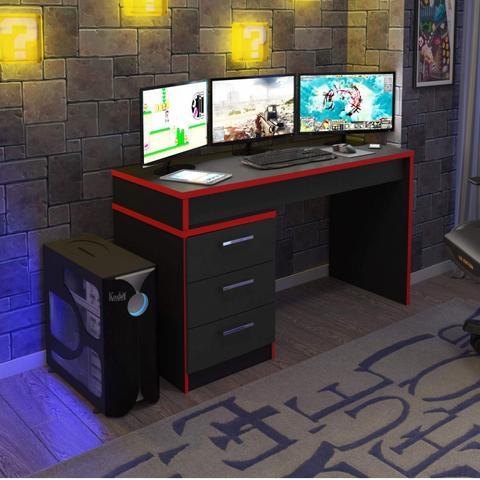 Imagem de Mesa para Computador Desk Game DRX 6000 Preto/Vermelho