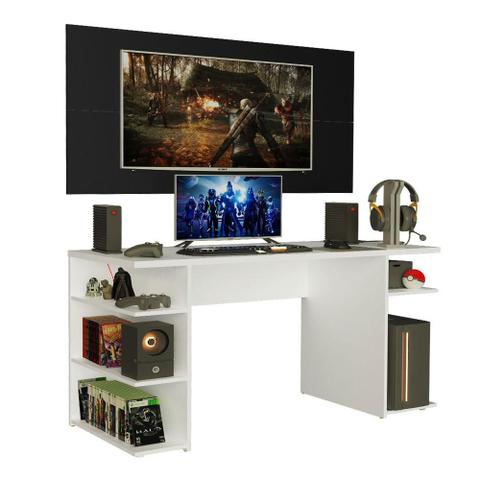 Imagem de Mesa para Computador Gamer Madesa 9409 e Painel para TV até 50 Polegadas - Branco/Preto