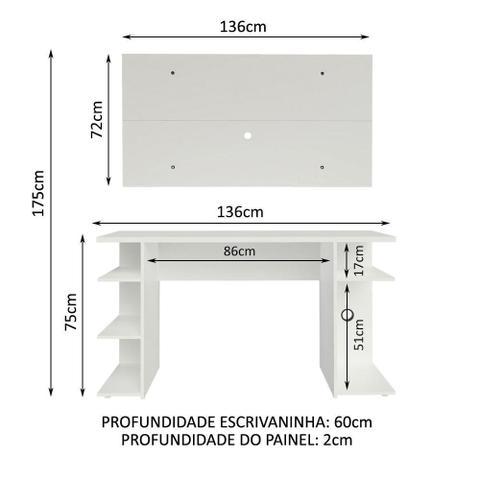 Imagem de Mesa para Computador Gamer Madesa 9409 e Painel para TV até 50 Polegadas - Branco