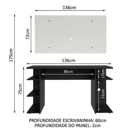 Imagem de Mesa para Computador Gamer Madesa 9409 e Painel para TV até 50 Polegadas - Preto/Branco
