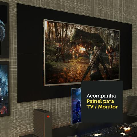 Imagem de Mesa para Computador Gamer Madesa 9409 e Painel para TV até 50 Polegadas - Preto