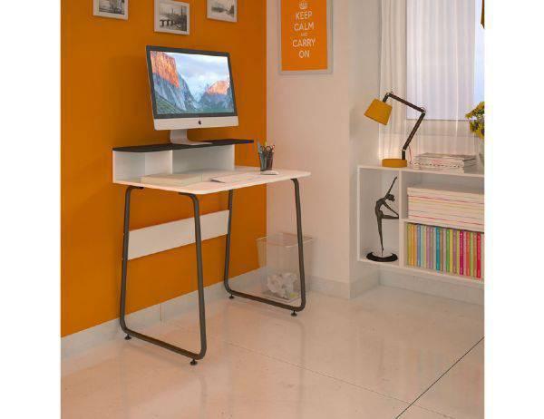 Imagem de Mesa para Computador Multivisão JOB, Branco e Preto