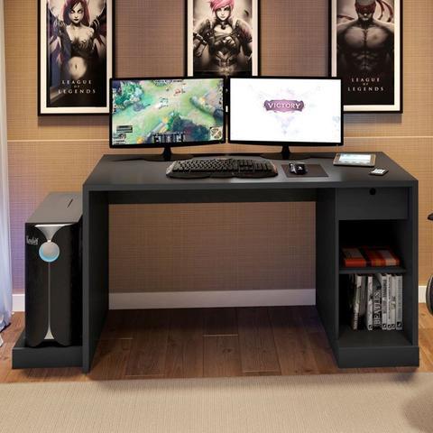Imagem de Mesa para Computador Notebook Desk Game DRX 3000 Preto - Móveis Leão