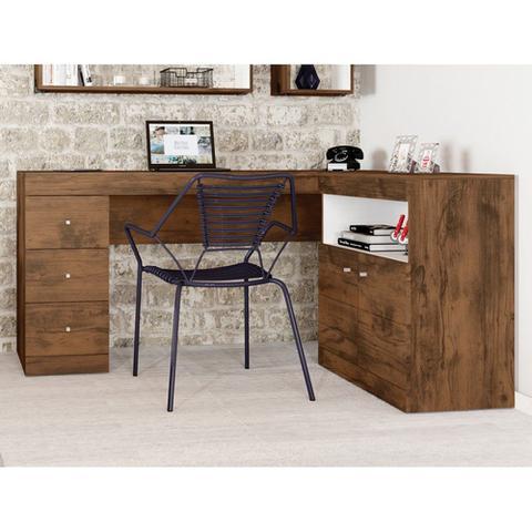 Imagem de Mesa para Computador PC Job Canto 2 Portas 3 Gavetas Caemmun