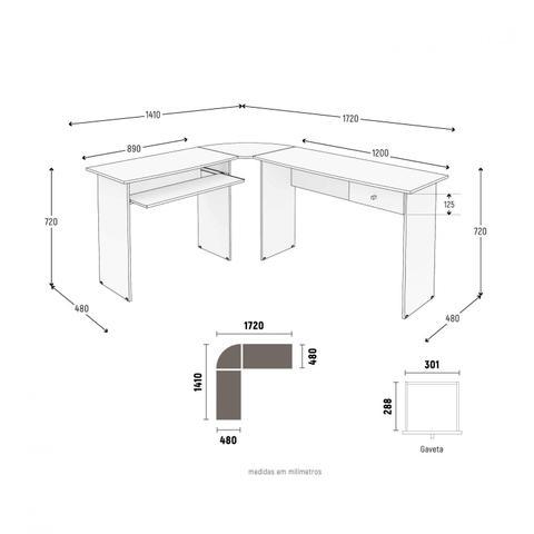Imagem de Mesa para Escritório em L 1 Gaveta Max Zanzini Branco Artico