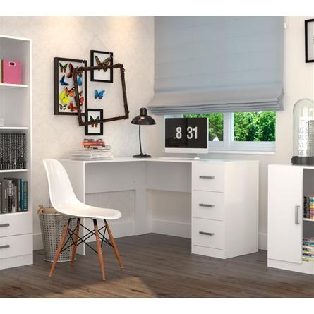 Imagem de Mesa para Escritório em L com 3 Gavetas Office Plus Appunto - Branco