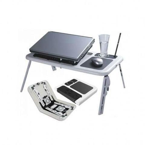 Imagem de Mesa para notebook suporte com 2 coolers e sensor touch de mouse dobravel com altura ajustavel