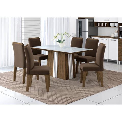 Imagem de Mesa Priscila com 6 Cadeiras 160x90cm Aramóveis 3303006