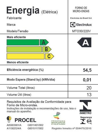 Imagem de Micro-Ondas com Função Tira Odor Electrolux 20L (MTO30)
