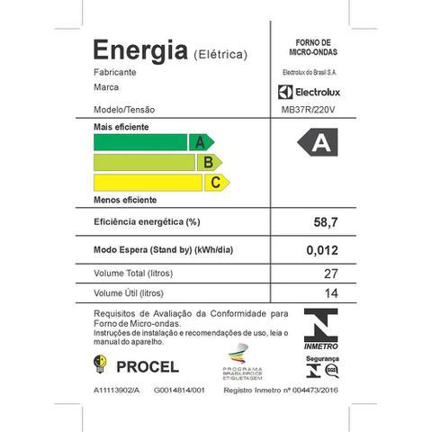 Imagem de Micro-Ondas Electrolux Branco 27L com 55 Receitas pré-programadas no Menu Online (MB37R)