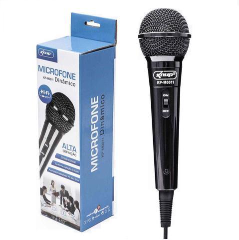 Imagem de Microfone Com Fio Para Karaokê Palestras Gravações Knup KP-M0011 Dinâmico Novo Original