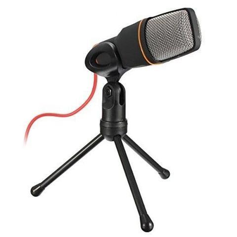 Imagem de Microfone Condensador Para Gravaçao De Mesa Qualidade Profissional Com Tripe Para Notebook e Computador Preto (BSL-RADIO-2)
