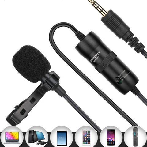 Imagem de Microfone de lapela omnidirecional preto cabo 6 metros adaptador