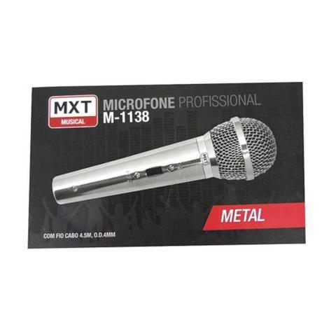 Imagem de Microfone Dinâmico de Mão Profissional Metal Prata MXT M-1138 com cabo 4,5 Metros